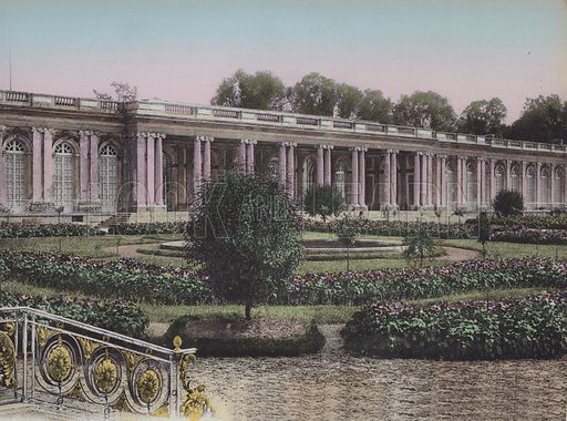 Grand Trianon, Facade sur les Jardins, Great Trianon, Front view on the gardens. Illustration for booklet on Versailles et les Trianons, c 1900.