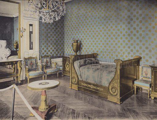 Grand Trianon, Chambre de Napoleon I, Great Trianon, Napoleon I Bedroom. Illustration for booklet on Versailles et les Trianons, c 1900.