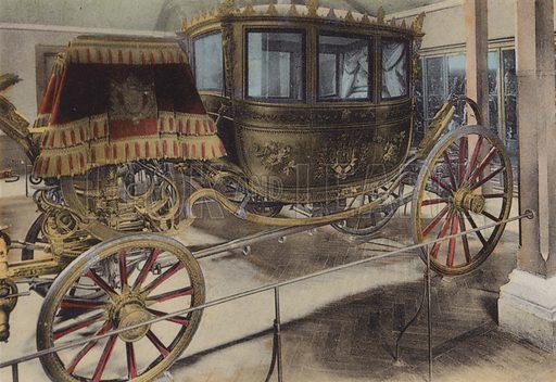 Voiture du Mariage de Napoleon III, Carriage of Napoleon III Wedding. Illustration for booklet on Versailles et les Trianons, c 1900.