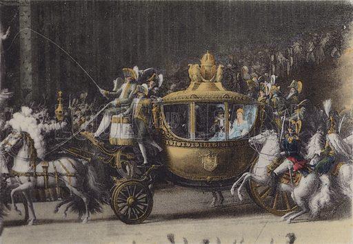 Voiture du Mariage de Napoleon 1, 2 Avril 1810, Carriage of Napoleon 1, 2 April 1810. Illustration for booklet on Versailles et les Trianons, c 1900.