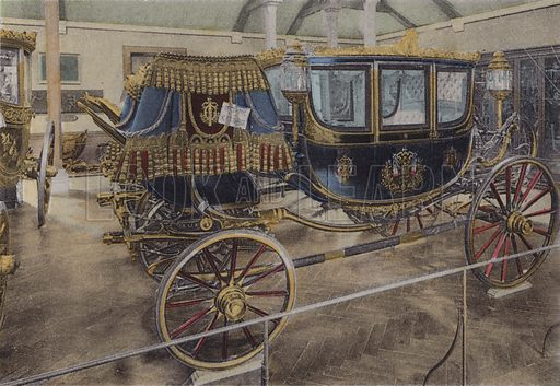 Voiture du Czar, Carriage of Czar. Illustration for booklet on Versailles et les Trianons, c 1900.