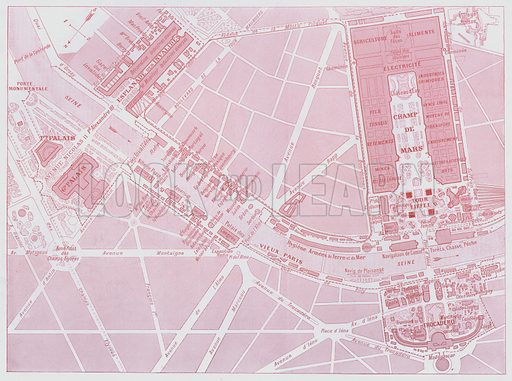 Plan of Exposition Universelle, Paris, 1900. Illustration for Le Panorama, Exposition Universelle, Paris, 1900 (Librairie d'Art).
