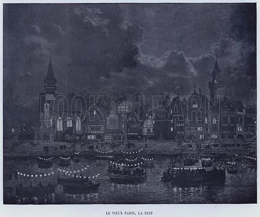 Le Vieux Paris, La Nuit. Illustration for Le Panorama, Exposition Universelle, Paris, 1900 (Librairie d'Art).