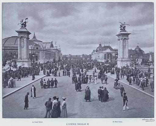 L'Avenue Nicolas II. Illustration for Le Panorama, Exposition Universelle, Paris, 1900 (Librairie d'Art).