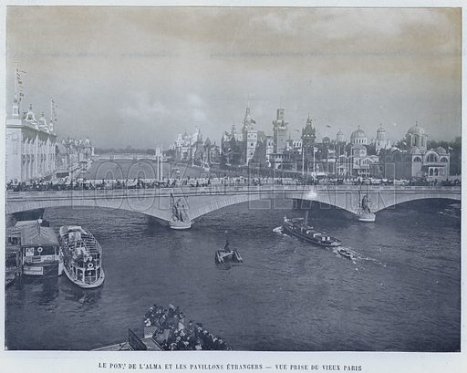 Le Pont De L'Alma Et Les Pavillons Etrangers, Vue Prise Du Vieux Paris. Illustration for Le Panorama, Exposition Universelle, Paris, 1900 (Librairie d'Art).