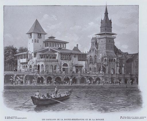 Les Pavillons De La Bosnie-Herzegovine Et De La Hongrie. Illustration for Le Panorama, Exposition Universelle, Paris, 1900 (Librairie d'Art).