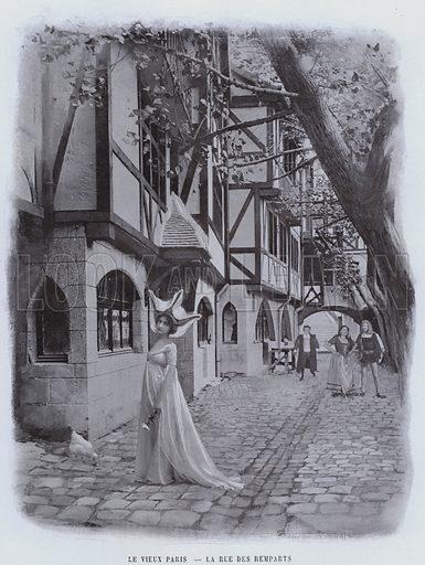 Le Vieux Paris, La Rue Des Remparts. Illustration for Le Panorama, Exposition Universelle, Paris, 1900 (Librairie d'Art).
