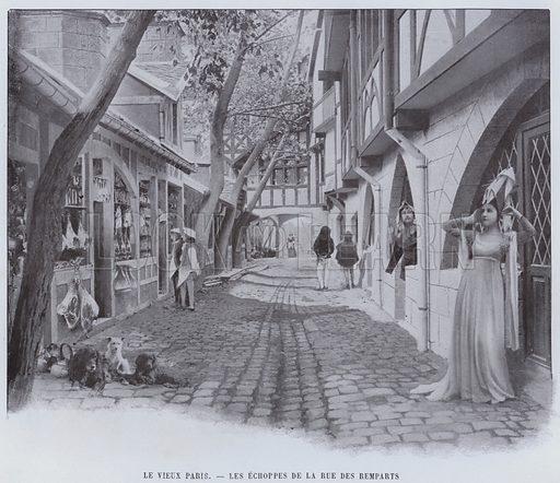 Le Vieux Paris, Les Echoppes De La Rue Des Remparts. Illustration for Le Panorama, Exposition Universelle, Paris, 1900 (Librairie d'Art).