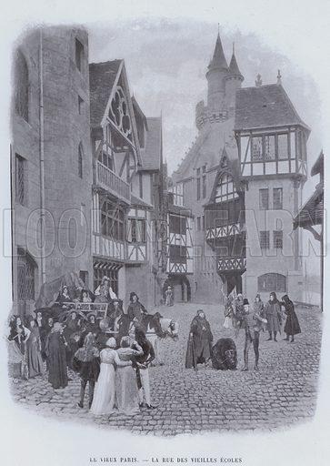 Le Vieux Paris, La Rue Des Vieilles Ecoles. Illustration for Le Panorama, Exposition Universelle, Paris, 1900 (Librairie d'Art).