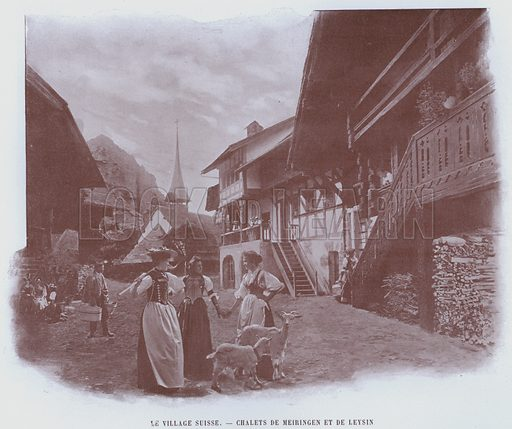 Le Village Suisse, Chalets De Meiringen Et De Leysin. Illustration for Le Panorama, Exposition Universelle, Paris, 1900 (Librairie d'Art).