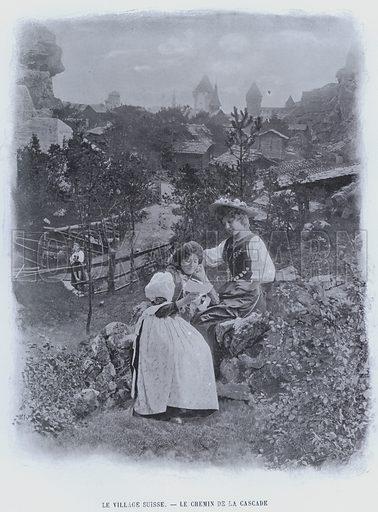 Le Village Suisse, Le Chemin De La Cascade. Illustration for Le Panorama, Exposition Universelle, Paris, 1900 (Librairie d'Art).