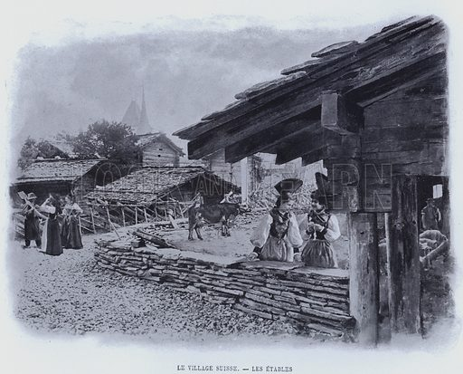 Le Village Suisse, Les Etables. Illustration for Le Panorama, Exposition Universelle, Paris, 1900 (Librairie d'Art).