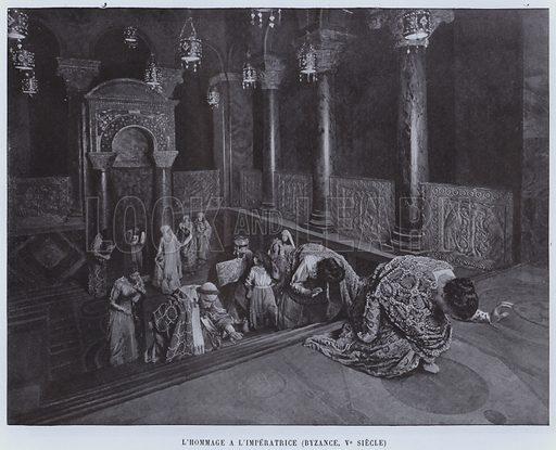 L'Hommage AL'Imperatrice, Byzance, Ve Siecle. Illustration for Le Panorama, Exposition Universelle, Paris, 1900 (Librairie d'Art).