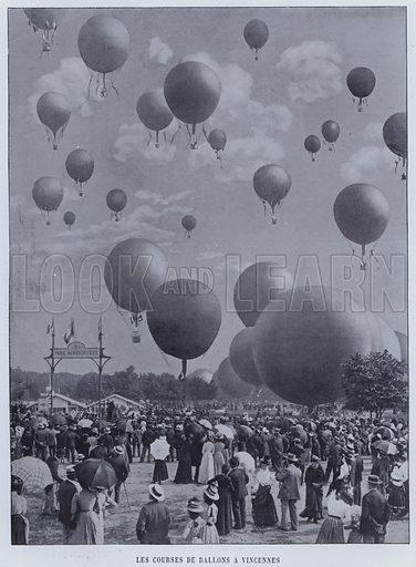 Les Courses De Ballons A Vincennes. Illustration for Le Panorama, Exposition Universelle, Paris, 1900 (Librairie d'Art).