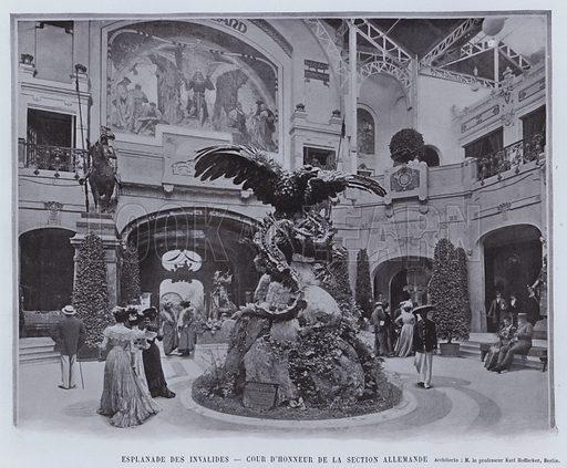 Esplanade Des Invalides, Cour D'Honneur De La Section Allemande. Illustration for Le Panorama, Exposition Universelle, Paris, 1900 (Librairie d'Art).