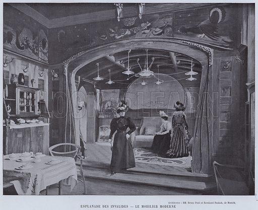 Esplanade Des Invalides, Le Mobilier Moderne. Illustration for Le Panorama, Exposition Universelle, Paris, 1900 (Librairie d'Art).