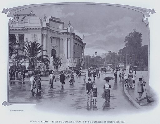 Le Grand Palais, Angle De L'Avenue Nicolas II Et De L'Avenue Des Champs-Elysees. Illustration for Le Panorama, Exposition Universelle, Paris, 1900 (Librairie d'Art).