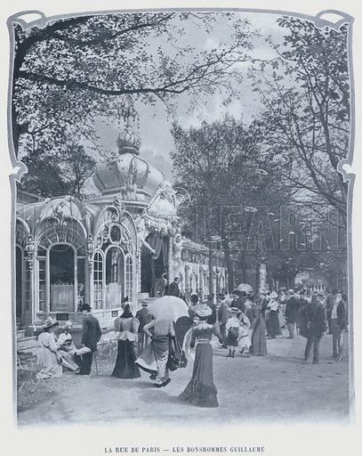 La Rue De Paris, Les Bonshommes Guillaume. Illustration for Le Panorama, Exposition Universelle, Paris, 1900 (Librairie d'Art).