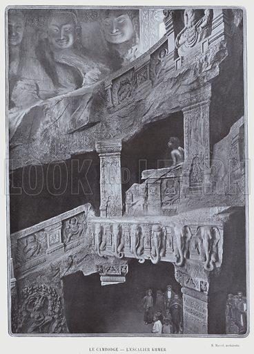 Le Cambodge, L'Escalier Khmer. Illustration for Le Panorama, Exposition Universelle, Paris, 1900 (Librairie d'Art).