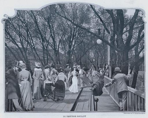 Le Trottoir Roulant. Illustration for Le Panorama, Exposition Universelle, Paris, 1900 (Librairie d'Art).