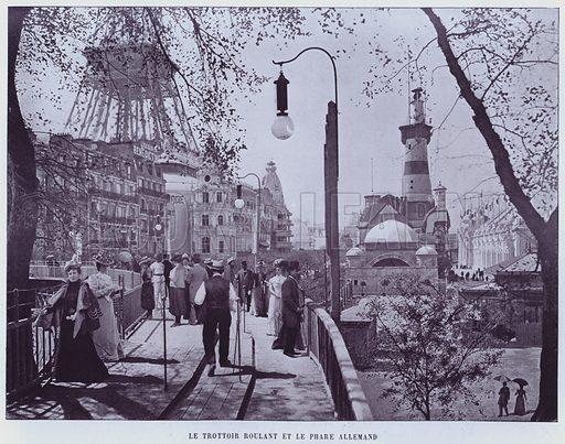 Le Trottoir Roulant Et Le Phare Allemand. Illustration for Le Panorama, Exposition Universelle, Paris, 1900 (Librairie d'Art).