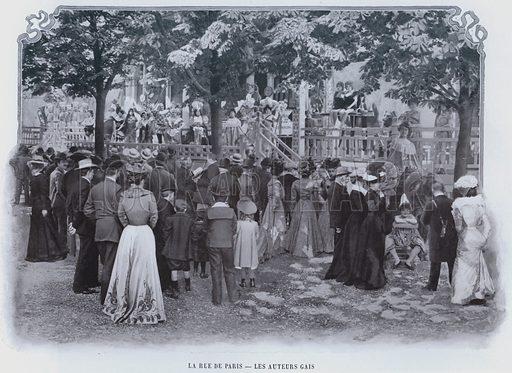 La Rue De Paris, Les Auteurs Gais. Illustration for Le Panorama, Exposition Universelle, Paris, 1900 (Librairie d'Art).