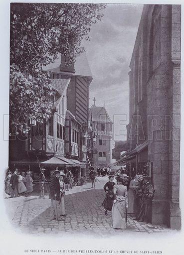 Le Vieux Paris, La Rue Des Vieilles Ecoles Et Le Chevet De Saint-Julien. Illustration for Le Panorama, Exposition Universelle, Paris, 1900 (Librairie d'Art).