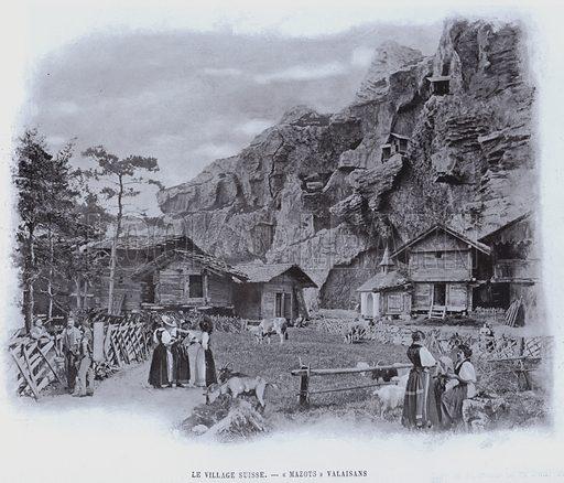 """Le Village Suisse, """"Mazots"""" Valaisans. Illustration for Le Panorama, Exposition Universelle, Paris, 1900 (Librairie d'Art)."""