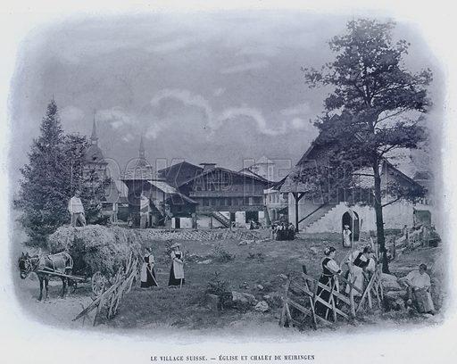 Le Village Suisse, Eglise Et Chalet De Meiringen. Illustration for Le Panorama, Exposition Universelle, Paris, 1900 (Librairie d'Art).
