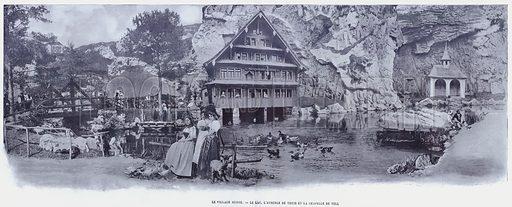 Le Village Suisse, Le Lac, L'Auberge De Treib Et La Chapelle De Tell. Illustration for Le Panorama, Exposition Universelle, Paris, 1900 (Librairie d'Art).