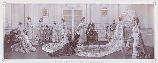 L'Exposition De La Couture Au Champ-De-Mars, Les Salons De Lumiere, Toilettes De Worth. Illustration for Le Panorama, Exposition Universelle, Paris, 1900 (Librairie d'Art).