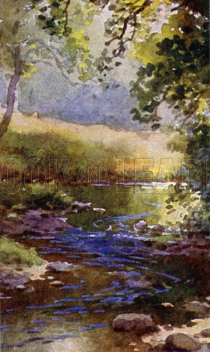 The Brook. Illustration for Alfred Lord Tennyson from the Warwick Poets Series (Hodder and Stoughton, c 1910).