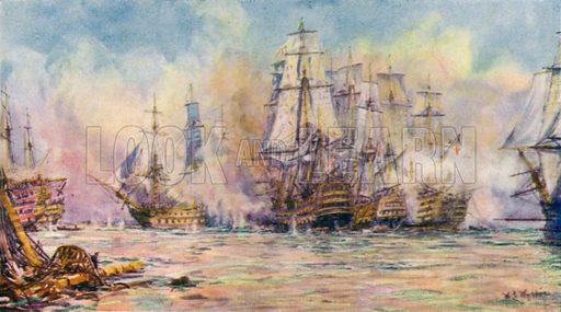 Battle of Trafalgar, 1805. Illustration for The British Battle Fleet by Fred T Jane (Library Press, 1915).