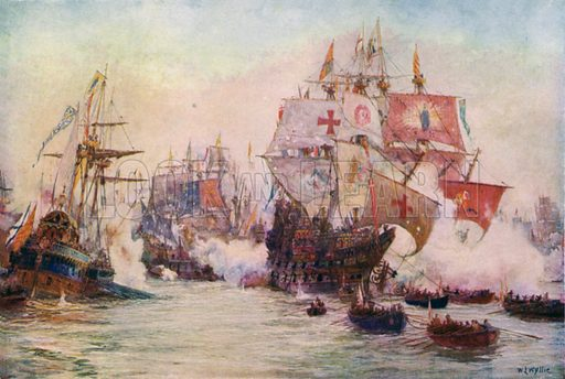 The Spanish Armada, 1588. Illustration for The British Battle Fleet by Fred T Jane (Library Press, 1915).