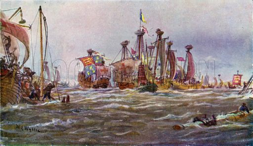 Battle of Sluys, 1340. Illustration for The British Battle Fleet by Fred T Jane (Library Press, 1915).