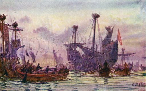 Richard 1st in action with the Saracen Ship. Illustration for The British Battle Fleet by Fred T Jane (Library Press, 1915).