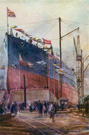 """Battle cruiser """"New Zealand"""" on the stocks, 1912. Illustration for The British Battle Fleet by Fred T Jane (Library Press, 1915)."""