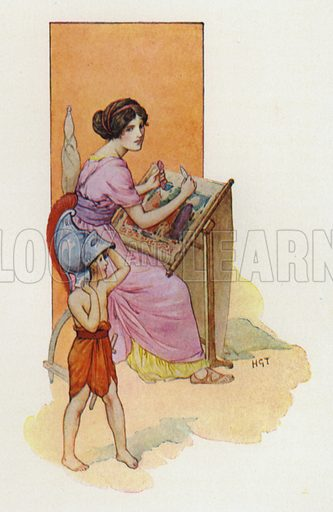 Penelope with her son Telemachus. Illustration from Once Upon A Time: Children