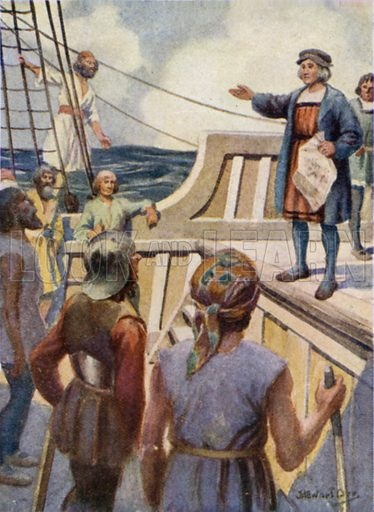 Columbus addressing the Mutineers. Illustration for The Story of Columbus by Gladys M Imlach (Jack, c 1910).