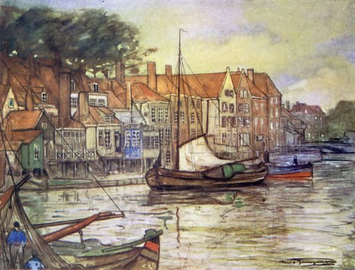 A Canal at Middelburg. Illustration for Holland by Nico Jungman, text by Beatrix Jungman (A&C Black, 1904).