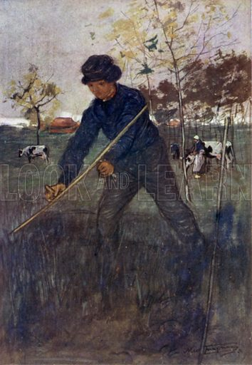 The Mower. Illustration for Holland by Nico Jungman, text by Beatrix Jungman (A&C Black, 1904).