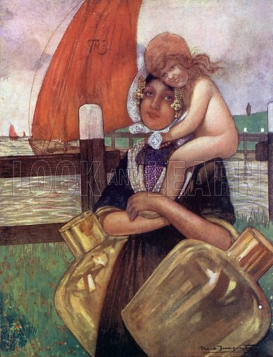 Mother and Baby. Illustration for Holland by Nico Jungman, text by Beatrix Jungman (A&C Black, 1904).