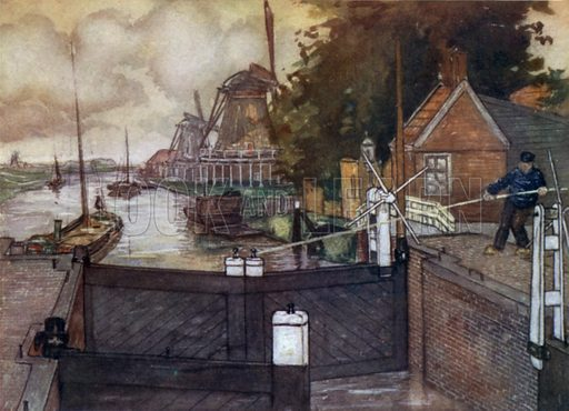 Noordervaldeursluis, Zaandam. Illustration for Holland by Nico Jungman, text by Beatrix Jungman (A&C Black, 1904).
