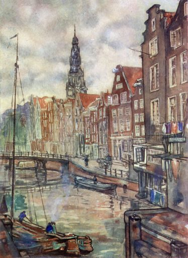 Oudezijdsch, Voorburgwal, Amsterdam. Illustration for Holland by Nico Jungman, text by Beatrix Jungman (A&C Black, 1904).