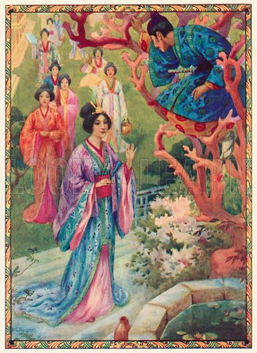 Princess Pearl was Delighted at the Sight of the Young Prince. From The Princes Hinode and Irihi. Illustration for Children's Stories from Japanese Fairy Tales and Legends by N Kata (Raphael Tuck, c 1910).