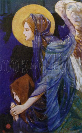 The Guardian Angel. Illustration for Robert Browning from the Warwick Poets series (Hodder and Stoughton, c 1910).