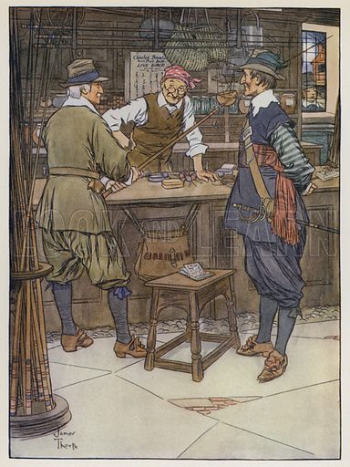 I will go with you to Mr John Stubs near to the Swan in Golden-lane. Illustration for The Complete Angler by Izaak Walton (TN Foulis, 1925).