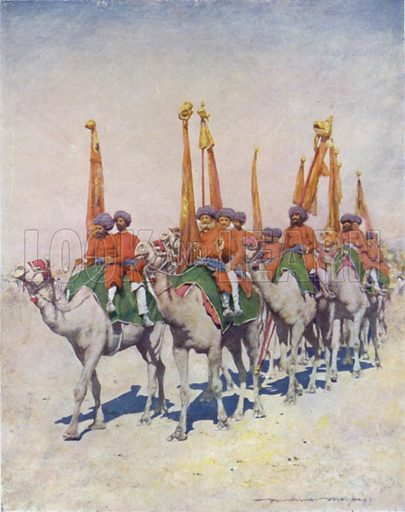 Emblem-bearers of Cutch. Illustration for The Durbar by Mortimer Menpes with text by Dorothy Menpes (A&C Black, 1903). This durbar was held in 1903 to celebrate the succession of Edward VII and Alexandra of Denmark as Emperor and Empress of India.