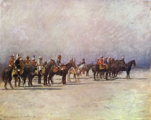 Viceroy reviewing the Troops. Illustration for The Durbar by Mortimer Menpes with text by Dorothy Menpes (A&C Black, 1903). This durbar was held in 1903 to celebrate the succession of Edward VII and Alexandra of Denmark as Emperor and Empress of India.
