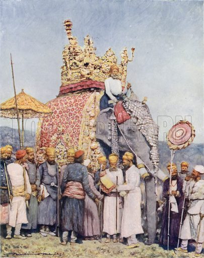 An Elephant and Retainers from Bikanir. Illustration for The Durbar by Mortimer Menpes with text by Dorothy Menpes (A&C Black, 1903). This durbar was held in 1903 to celebrate the succession of Edward VII and Alexandra of Denmark as Emperor and Empress of India.